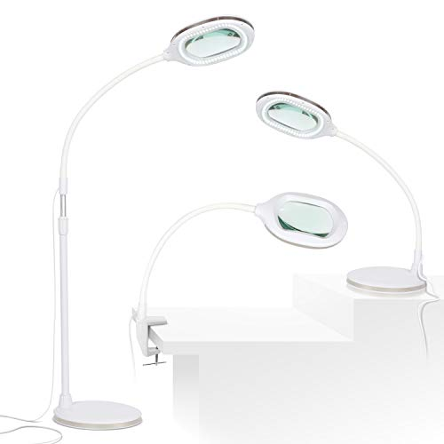 Brightech Lightview Pro 3 in 1 LED Magnifying Glass Floor Lamp- Use as a Table, Floor, or Desk Lamp - Real Diopter Glass Lens – Height Adjustable Gooseneck Standing Light – White