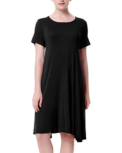 Mixfeer Women's Short Sleeve Casual T-Shirt Dress Round Neck A-Line Top Loose Simple Tunic Swing Dress