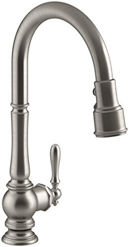 Kohler K-99259-VS Artifacts Single-Hole Kitchen Sink Faucet with 17-5/8-Inch Pull-Down Spout, 3-Function Sprayhead, and Turned Lever Handle, Vibrant Stainless