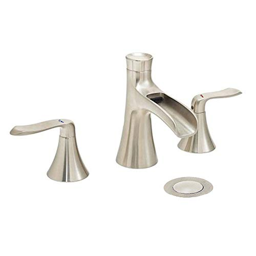 Wovier Brushed Nickel Widespread Waterfall Bathroom Sink Faucet,Two Handle Three Hole Vessel Lavatory Faucet,Basin Mixer Tap