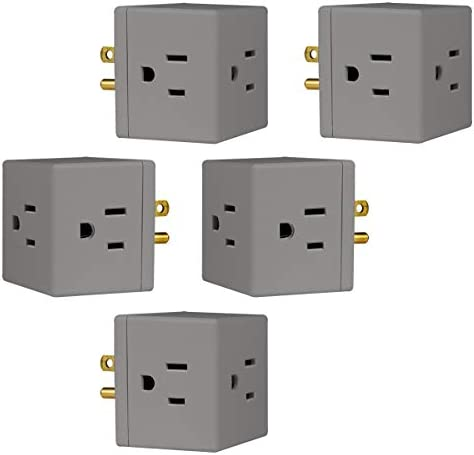 31BozzeC4FL. AC  - GE 3-Outlet Wall Tap, 5 Pack, Extra-Wide Adapter Spaced, Grounded, Easy Access Design, Indoor, Gray, 47038 #Amazon
