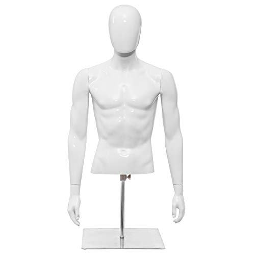 Giantex Male Mannequin Torso Adjustable Height Detachable Arms Dress Form Display w/Metal Stand, Bright White