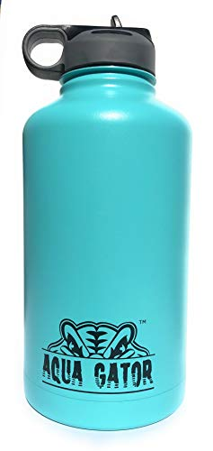 AQUA GATOR Insulated Metal Water Bottle with Straw Thermos for Sports Travel BPA Free Half Gallon 64oz
