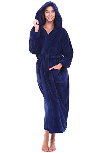 Alexander Del Rossa Womens Plush Fleece Robe with Hood, Small Medium Navy Blue (A0116NBLMD)