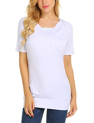 Hotouch Women Fluted Neck Raglan Short Sleeve Solid Casual Tunics Top(White, L)