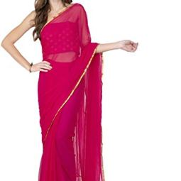 LIME Women's Chiffon Saree With Blouse Piece