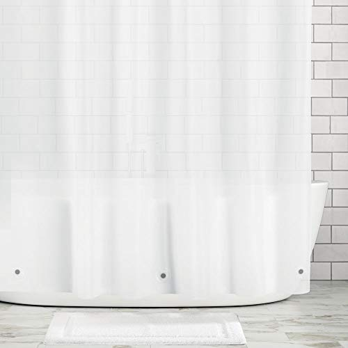 mDesign Waterproof, Mold/Mildew Resistant, Heavy Duty Premium Quality 10-Guage Vinyl Shower Curtain Liner for Bathroom Shower and Bathtub - 72' x 72' - Clear Frost