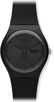 Swatch Men's SUOB702 Quartz Black Dial Day And Date Plastic Watch