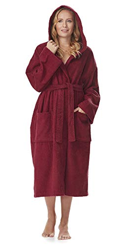 Arus Women's Classic Hooded Bathrobe Turkish Cotton Terry Cloth Robe (XS,Burg.) Burgundy