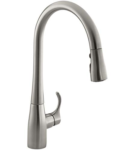 KOHLER K-596-Vs Simplice High-Arch Single-Hole Or Three-Hole, Single Handle, Pull-Down Sprayer Kitchen Faucet, Vibrant Brushed Stainless With 3-Function Spray Head, Sweep Spray And Docking Spray Head Technology