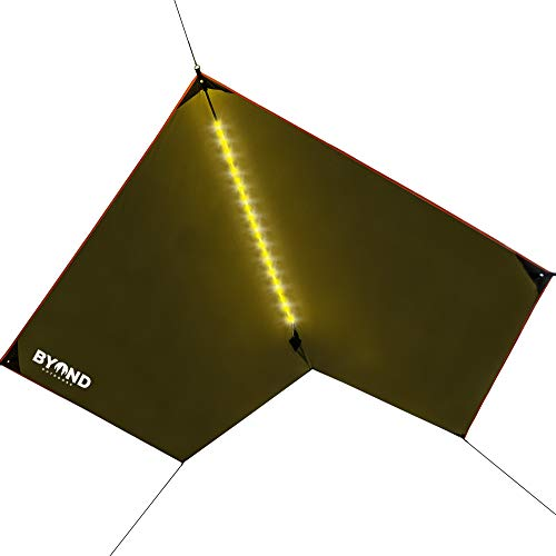 BYOND Rain Fly Hammock & Tent Tarp + Unique Velcro LED Strip - Waterproof Camping Travel 11.5 x 10 ft Tarp for Outdoor Portable and Practical Nature Shelter Extra-Durable (Rain Fly - Army Green)