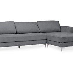 Baxton Studio Agnew Contemporary Light Beige Microfiber Right Facing Sectional Sofa