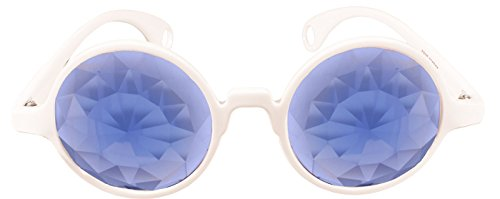 Rave Raptor White Frame Kaleidoscope Glasses With Prism Diffraction