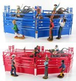 Newray Western Riders Bull Ring Rodeo Action Figure Playset (Either Blue or Red)
