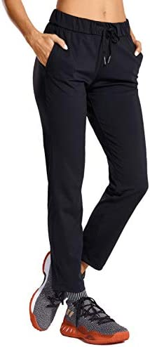 CRZ YOGA Women's Stretch Lounge Sweatpants Travel Ankle Drawstring 7/8 Athletic Track Yoga Dress Pants 1