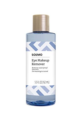 Amazon Brand – Solimo Eye Makeup Remover, Removes Waterproof Mascara, Dermatologist Tested, 5.5 Fluid Ounce