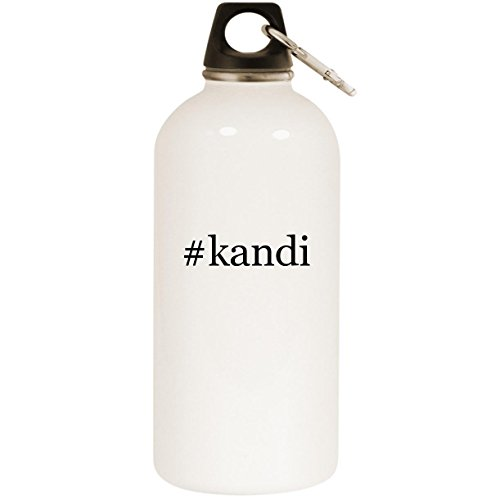 Molandra Products #Kandi - White Hashtag 20oz Stainless Steel Water Bottle with Carabiner