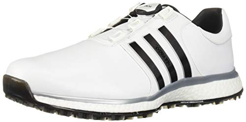 adidas Men's TOUR360 XT Spikeless BOA Golf Shoe, FTWR White/core Black/Silver Metallic, 8 M US