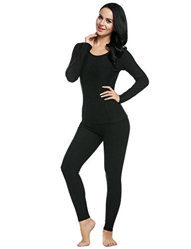 Ekouaer Women's Cotton Thermals Long Johns Underwear Base Layer Set Top&Bottom(Black,XL)