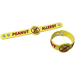2 Pack - Adjustable Size Peanut Allergy Bracelets for Kids / Toddlers - for Wrists or Even as A Tag on A Bag or Backpack - for Ages 2 and up - Strong and Durable
