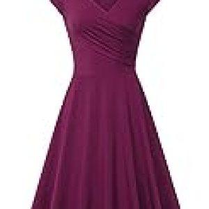 Laksmi Women's v-Neck Solid Short-Sleeve Knee Fit-and-Flare Dress, Magenta, Medium