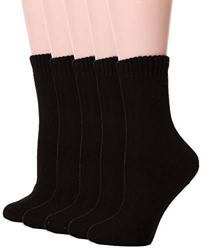 Womens Wool Socks Thick Heavy Thermal Fuzzy Warm Winter Crew Socks For Cold Weather 5 Pairs (Black)
