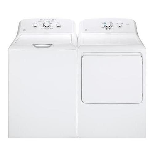GE White Laundry Pair with GTW330ASKWW 27″ Top Load Washer and GTD33EASKWW 27″ Front Load Electric Dryer