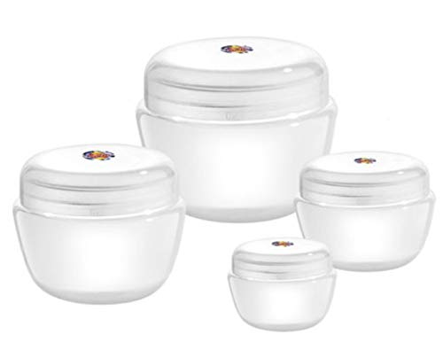 31Fd6TWqbqL SPC 12pcs - 10 ml Empty Plastic Cosmetic Jar/Container for Eyeshadow, Makeup, Face Cream, Lotion, Lip Balm, Body Butter, Scrub and Other DIY Beauty Products (Clear)