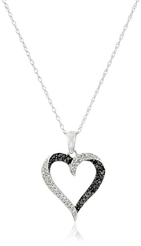 10k white gold black white diamond heart pendant necklace 13 10k white gold black white diamond heart pendant necklace 13 cttw 18 black diamonds jewelry aloadofball Images