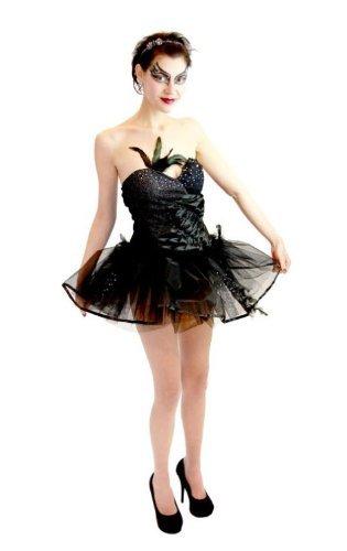 Black Swan Ballet Leotard and Tutu Ballerina Costume (Juniors X-Small)