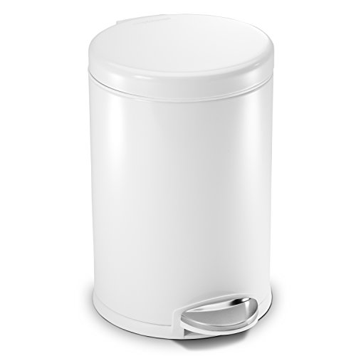 simplehuman 4.5-Liter /1.2-Gallon Round Step Trash Can, White Steel
