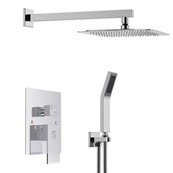 SR SUN RISE SRSH-F5043 Bathroom Luxury Rain Mixer Shower Combo Set Wall Mounted Rainfall Shower Head System Polished Chrome(Contain Shower Faucet Rough-In Valve Body and Trim)