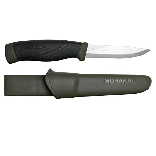 Morakniv Companion Heavy Duty Knife with Sandvik Carbon Steel Blade, 0.125/4.1-Inch, Military Green