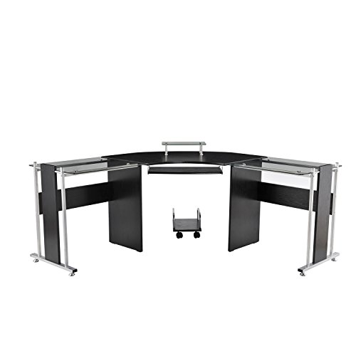 "HOMCOM 69"" L-Shaped Symmetrical Smoked Glasstop Desk"