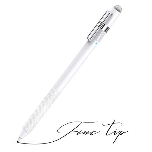 MEKO 1.6mm Fine Tip Active Digital Stylus Pen with Universal Fiber Tip 2-in-1 Perfect for Drawing and Handwriting Compatible with Apple iPad iPhone and Andriod Touchscreen Cellphones, Tablets-White