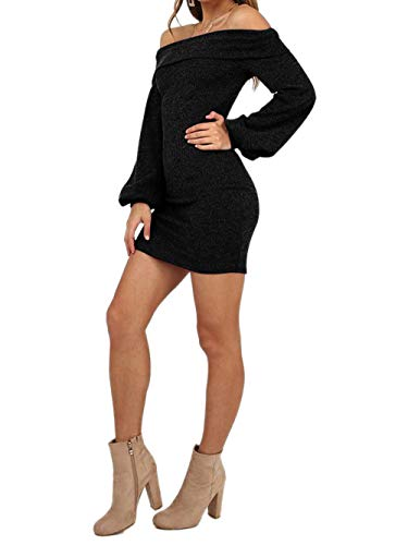 5970e7ed43 Yizenge Women s Long Puff Sleeve Off Shoulder Bodycon Knit Sweater ...