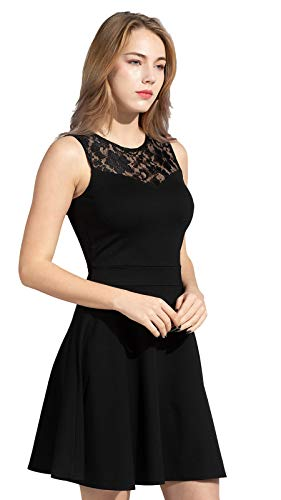 Sylvestidoso Women's A-Line Pleated Sleeveless Little Cocktail Party Dress with Floral Lace 15 Fashion Online Shop gifts for her gifts for him womens full figure