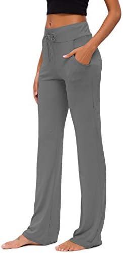 Womens Yoga Pants with Pockets Straight-Leg Loose Comfy Modal Drawstring Lounge Running Long Active Casual Sweatpants 5