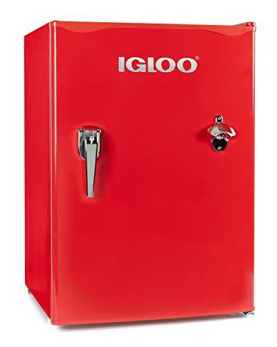 Igloo IRF26RSRD Classic Compact Single Door Refrigerator Freezer w/Chrome Handle & Bottle Opener, 2.6 Cu.Ft, Red