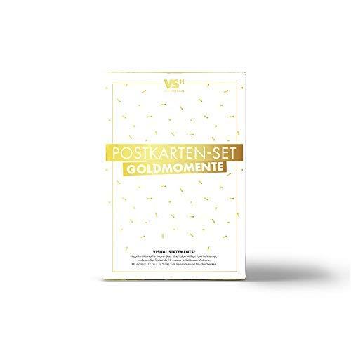 VISUAL STATEMENTS® 10er Postkarten Set Heißfolienprägung GOLD mit Sprüchen & Zitaten / 10 verschiedene hochwertige Spruchkarten / 350g schwerer Bilderdruckkarton / 12 x 17,5 cm/XXL Format (Gold)