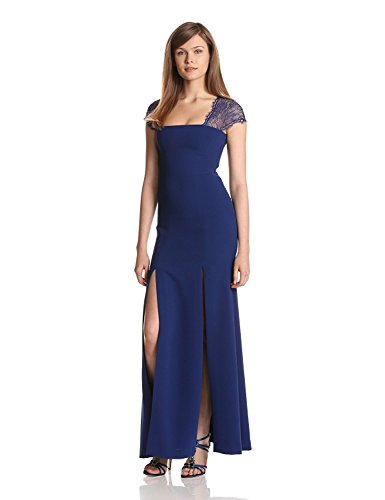 61qmkZgM2LL Square neck Cap sleeves This BCBGMAXAZRIA gown features a square neckline, cap sleeves, and a lace detail at shoulders and back.