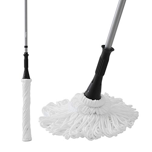 Ey.liden Microfiber Twist Mop Easy Self-Wringing Mop with 2 Microfiber heads for All Sort of Floors - Wooden Floor Tiles Matte Finish Floor Tiles