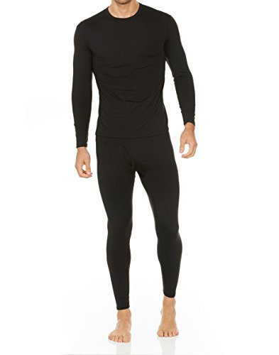 Thermajohn Men's Ultra Soft Thermal Underwear Long Johns Set with Fleece Lined (Large, Black)