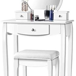 CHARMAID Vanity Set with Large Round Mirror and 3 Drawers, Makeup Table with Removable Top for Women Girls, Dressing Table with Cushioned Stool, White
