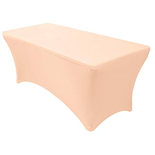 Your Chair Covers - Stretch Spandex 6 ft Rectangular Table Cover - Peach, 72' Length x 30' Width x 30' Height Fitted Tablecloth for Standard Folding Tables,Party Table Cloth