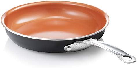 Gotham Steel 9.5 Ultra Nonstick Ceramic Copper Coating by Titanium Frying Pan by Daniel Green, Brown