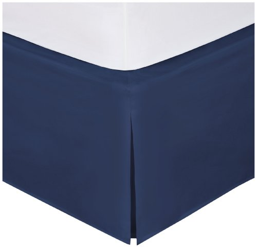 "Magic Skirt Tailored Bedskirt, Never Lift Your Mattress, Classic 14"" drop length, Pleated Styling, Twin, Navy"