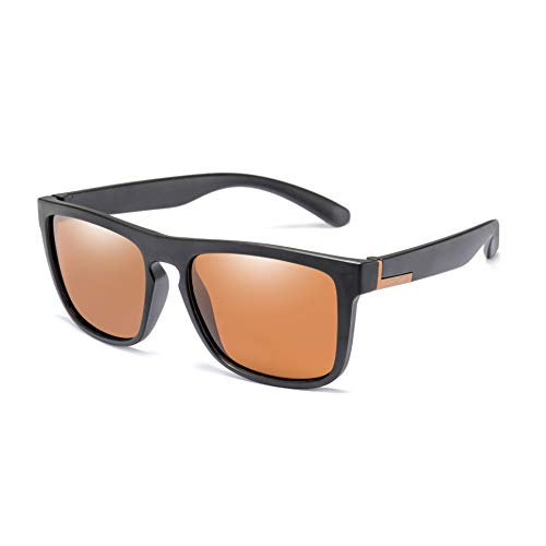 Polarized Square Driving Sunglasses TR90 Unbreakable Sport Glasses Long Keeper (Tea)
