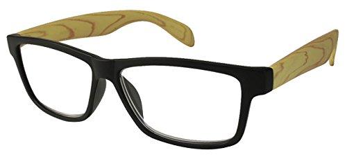 Buy 1 Get 1 Free BOGO Retro Faux Wood Grain 80s Classic Rectangular Reading Glasses Lightweight Crystal Clear Readers for Men Women 540593PTT+1.50-6