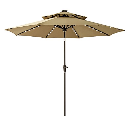 FLAME&SHADE 10' Solar LED Offset Cantilever Umbrella for Outdoor Deck, Garden or Pool Area, Infinite Tilting, 360° Rotation, Cross Base, Beige